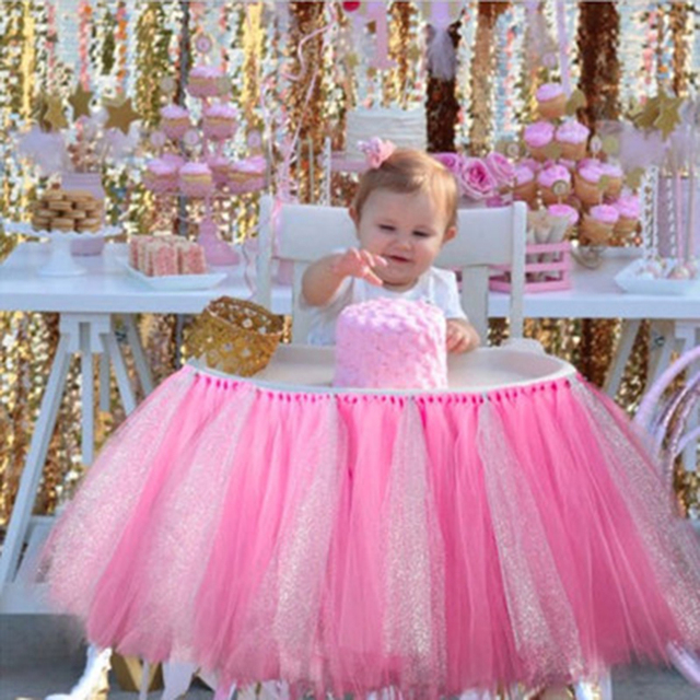 1PC Pink Gold Tutu Table Skirts High Chair Decor Kids Birthday Decoration Baby Shower Favors Tableware