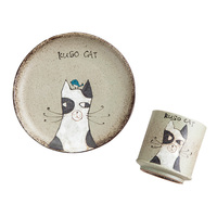 Japanese Adorable Cat Handmade Coffee Mug With Plate Ceramic Cartoon Tea Milk Cup And Mark Elegant