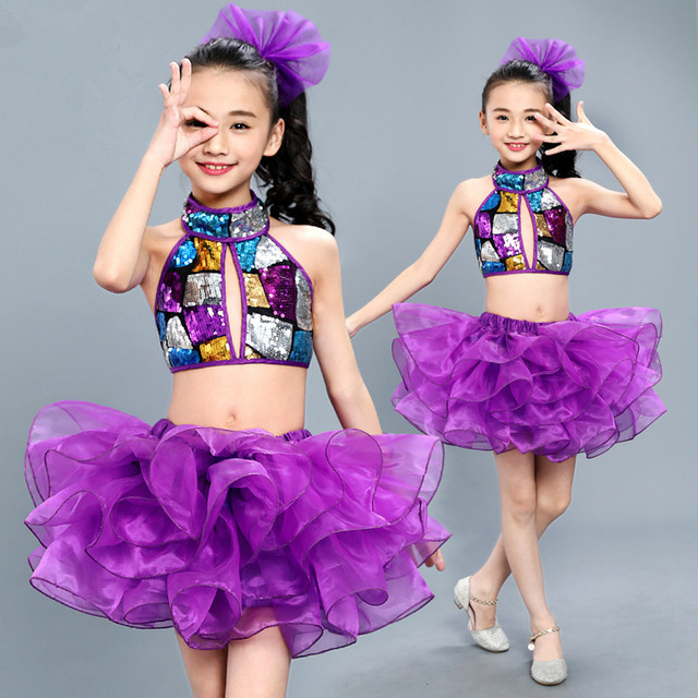 cf79d51e9 Sequins salsa dance clothes Jazz modern dance costumes for girls ...