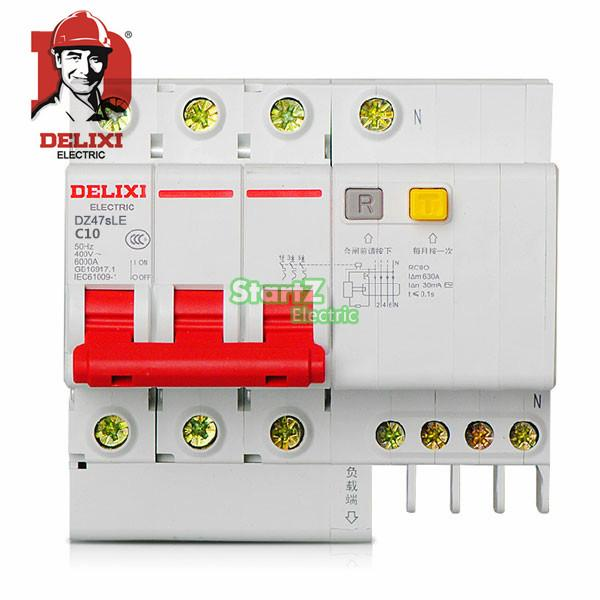 10A 3P+N RCBO RCD Circuit Breaker DE47LE DELIXI 63a 3 p 3 p n rcbo rcd выключателя de47le delxi