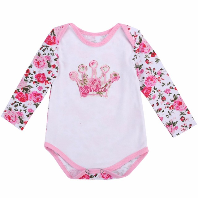 99f351187be 1st Birthday Twins Baby Girl Clothes Flower Crown Pattern Bodysuit Autumn  Winter Long Sleeve Newborn Cotton Baby Clothes 0-24M