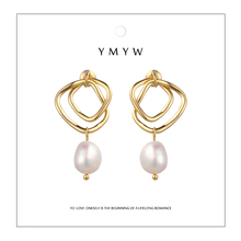 YMYW Korean Fashion Elegant Geometric Natural Pearl Drop Earrings Dangle Romantic Ladies Wedding Boucle Doreille Christams Gift
