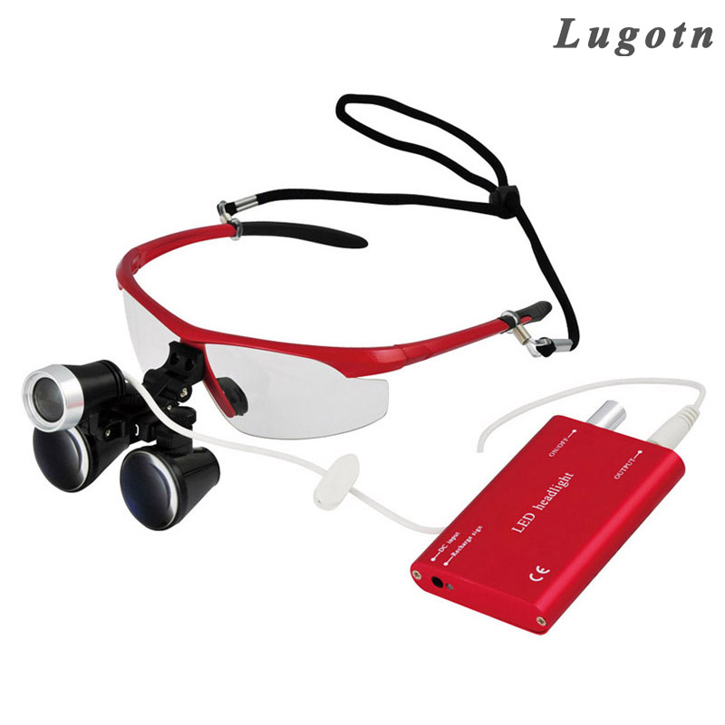 3 5X times magnification magnifier with led headlamp binocular medical loupes antifog glasses surgical ENT magnifier