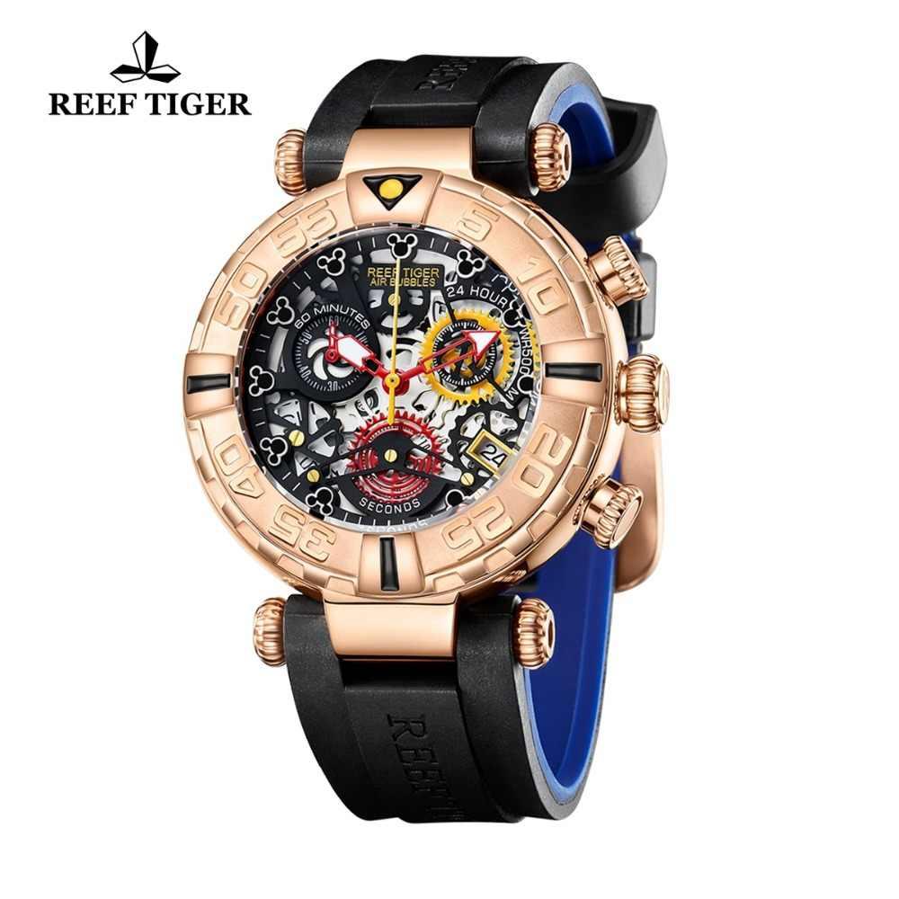 Relojes deportivos para hombre de marca Reef Tiger/RT cronógrafo oro rosa esqueleto relojes a prueba de agua reloj hombre masculino RGA3059-S