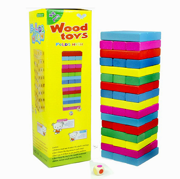48pcs Pine Wooden Tower Wood Building Blocks Toys Stacker Extract Building Educational Jenga Game Gift advanced wooden tower digital blocks toy vegetables domino stacker extraction montessori educational jenga family games oyuncak