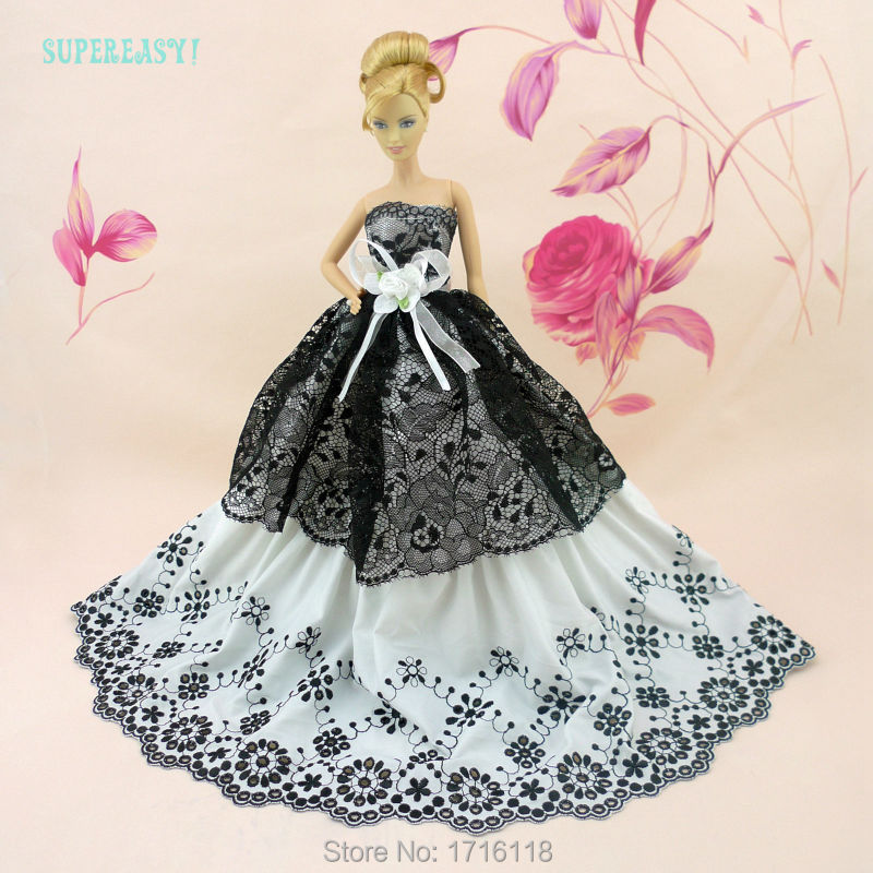 Vogue Strapless Wedding ceremony Get together Robe With Lace Black White Gown Garments For Barbie Doll Equipment Child Lady Play Home Present