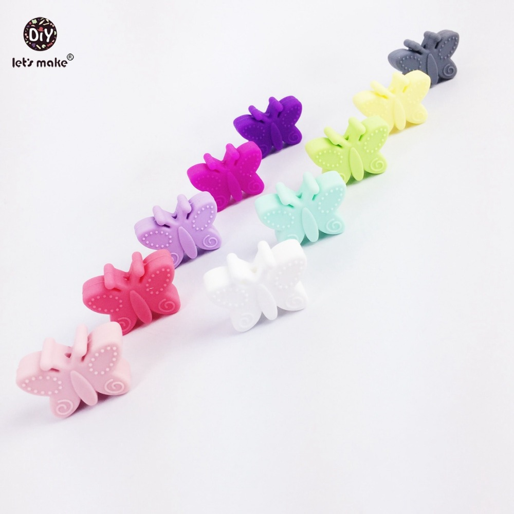 Lets Make Silicone Butterfly 10pc Small Beads For Teething Holes DIY Beads 3cm Butterfly BPA Free Silicone Beads Baby Teether