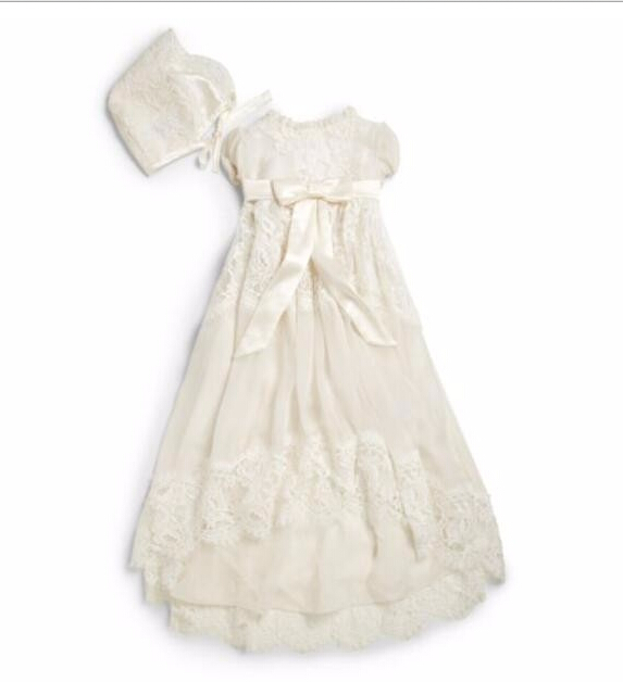 2016 Baby Girl Infant Christening Dress Baby Boys Baptism Gown Flower Lace Applique With Bonnet