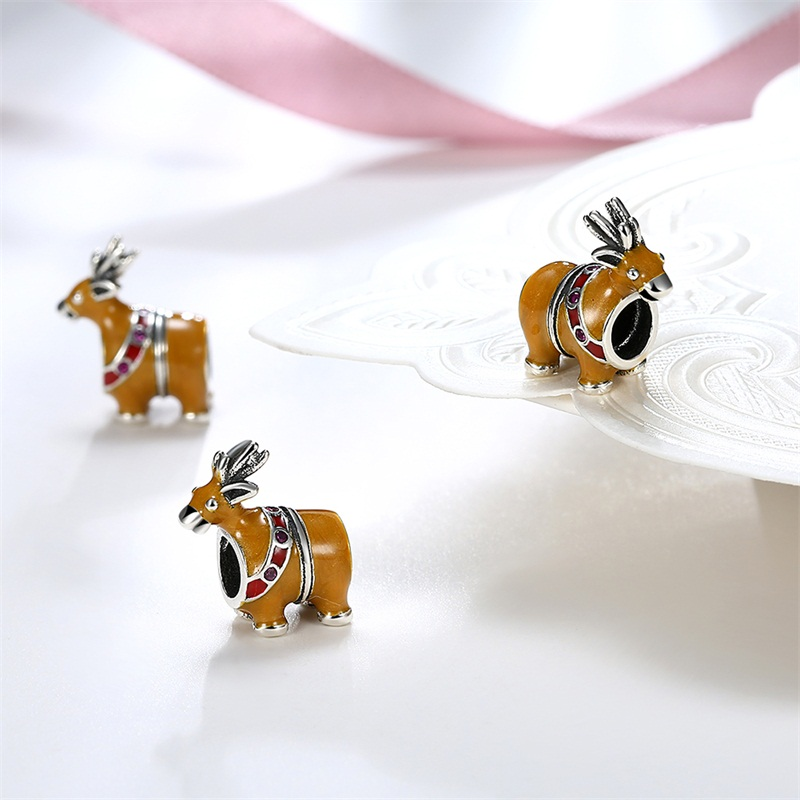 AZIZ Christmas gift snowman charms santa sled dog christmas beads fit DIY bracelet sterling-silver-jewelry Diy accessories
