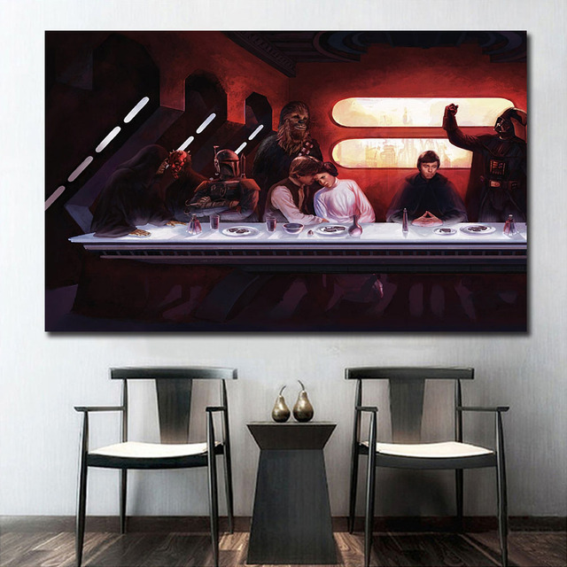 Star Wars The Last Supper Art Wall Art Farba Scienna Decor Canvas