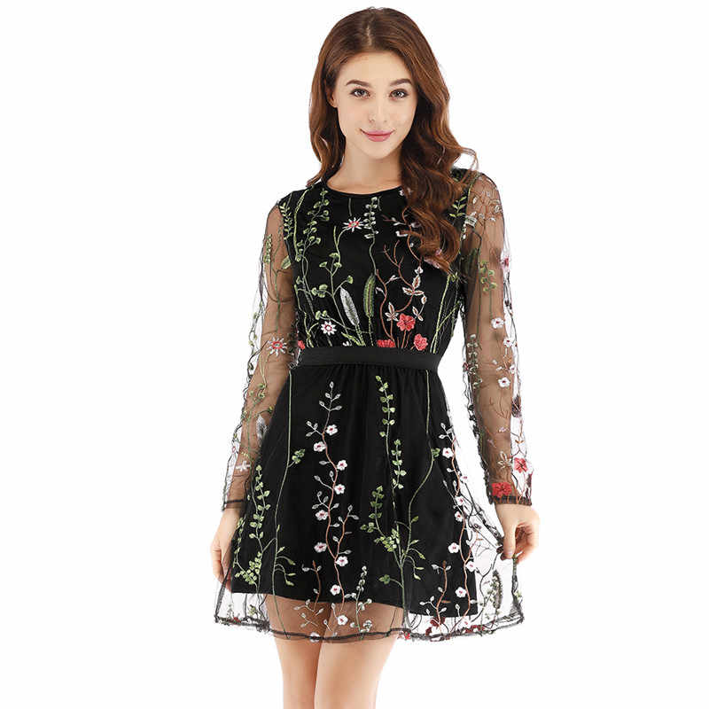 3993e4b919 ... Floral Embroidery Women Summer Dress 2019 Boho Holiday Long Sleeve  Sheer Mesh See Through Sexy Casual ...