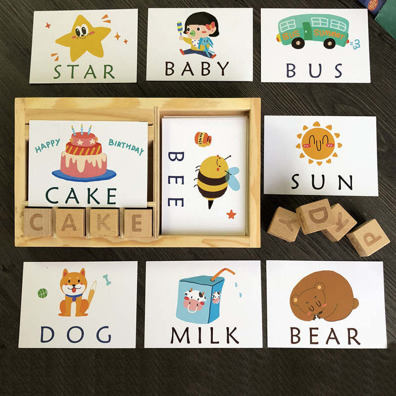 Montessori Learning English Cards Alphabet Spelling Words Kids Games Spelling Word Building Block Early Educational Toys