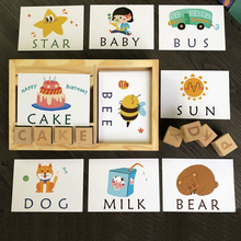 Montessori Learning English Cards Alphabet Spelling Words Kids Games Spelling Word Building Block Early Educational Toys word building workbook