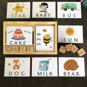 Image 1 - Montessori Learning English Cards alfabet pisownia słowa gry dla dzieci pisownia słowo klocki do budowy wczesne zabawki edukacyjne