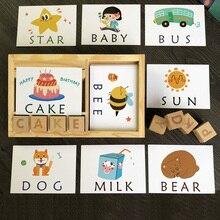 Montessori öğrenme İngilizce kartları alfabe yazım kelimeleri çocuk oyunları yazım kelime yapı taşı erken eğitici oyuncaklar