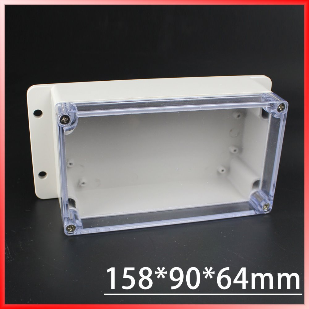(1 piece/lot) 158*90*64mm Clear ABS Plastic IP65 Waterproof Enclosure PVC Junction Box Electronic Project Instrument Case waterproof abs plastic electronic box white case 6 size