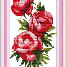 Three Rose Sisters Flower Cross Stitch Kits White Canvas 11C