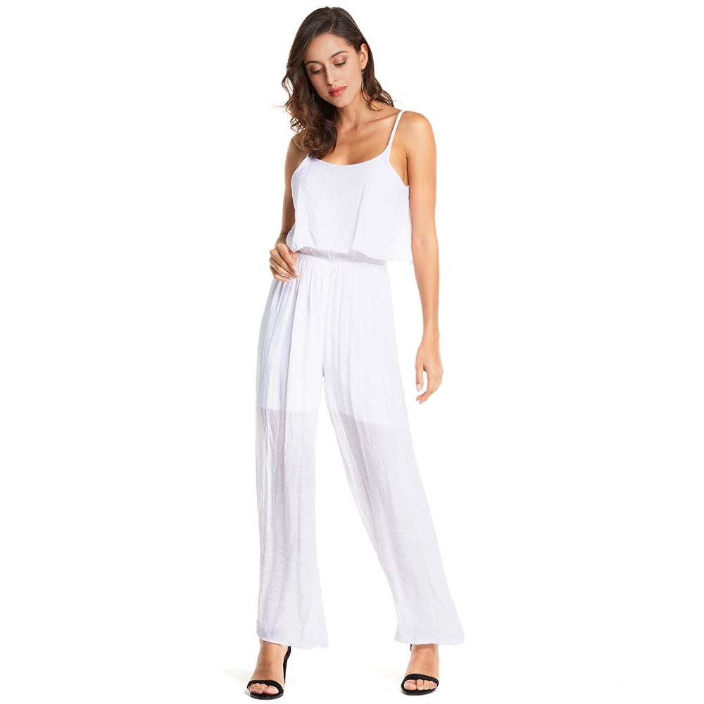 Women Plus Size Sling trousers Solid White Casual Fashion Jumpsuits Loose Straight Comfort Cotton Jumpsuits