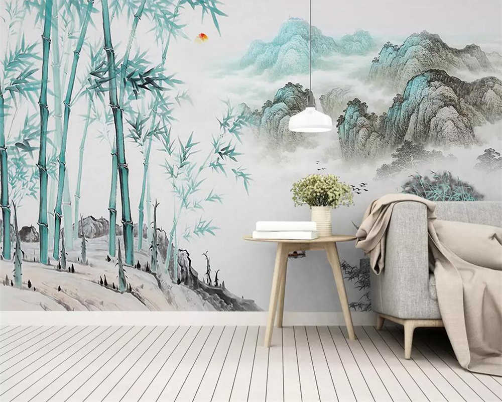 Beibehang Wallpaper Dinding 3 D Abstrak Tinta Lanskap Bambu 3D Ruang Tamu Kamar Tidur TV Latar.jpg q50