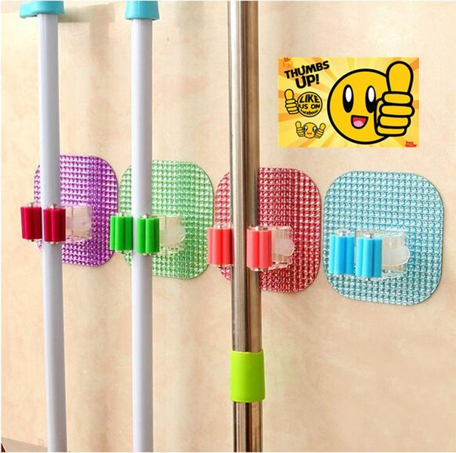New Arrival Separate free nail clip for mop Self Adhesive wall hook organizer sticky hook 3PCS