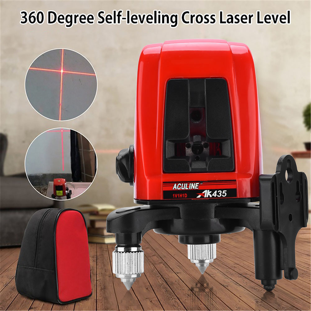 AK435 1V1H Red 2 Line 1 Point 360 Degree Self- Leveling Cross Laser Level Rotary Horizontal Vertical Red Laser Levels стоимость