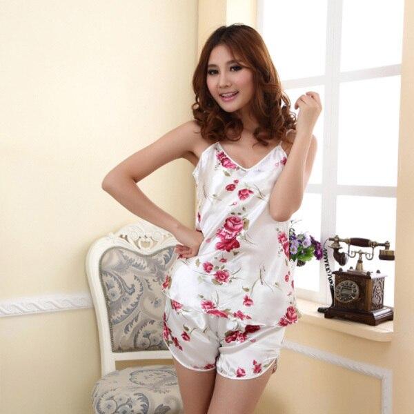 1 Set Women Sexy Pajamas Set Blouse Shirt + Shorts Underwear Sleepwear Print Sleeveless Pajamas