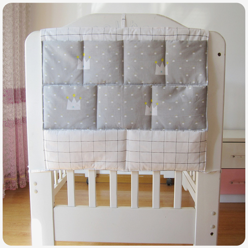 Bed Hanging Storage Bag Baby Cot Bed Brand Baby Cotton Crib Organizer 50*60cm Toy Diaper Pocket For Crib Bedding Set
