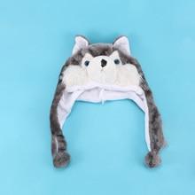 c87d64fa41f 1pc Cute Warm Winter Grey Soft Plush Comfortable Animal Style Cartoon Huskies  Hats Fluffy Caps Earmuff