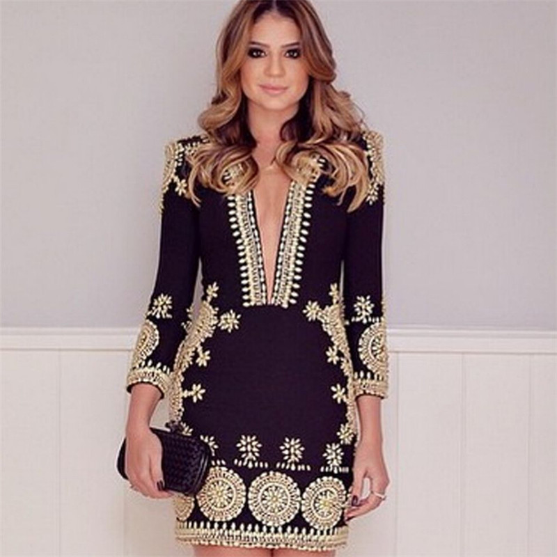 2017 Womens New Sexy Beauty Dress Self-cultivation V-Neck Printed Summer UK Bodycon Cocktail Lace Dress Ladies Dress