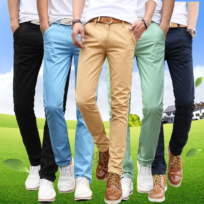 Весна-осень мужчин в тонком стиле прямые длинные штаны молодых мужчин повседневные красивые длинные штаны