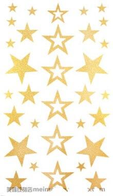 2Pcs/Lot 10*17.5cm Women Leg Hand Body Arm DIY Gold Tattoo Stickers Waterproof Temporary Glitter Tattoo Sticker Star Design