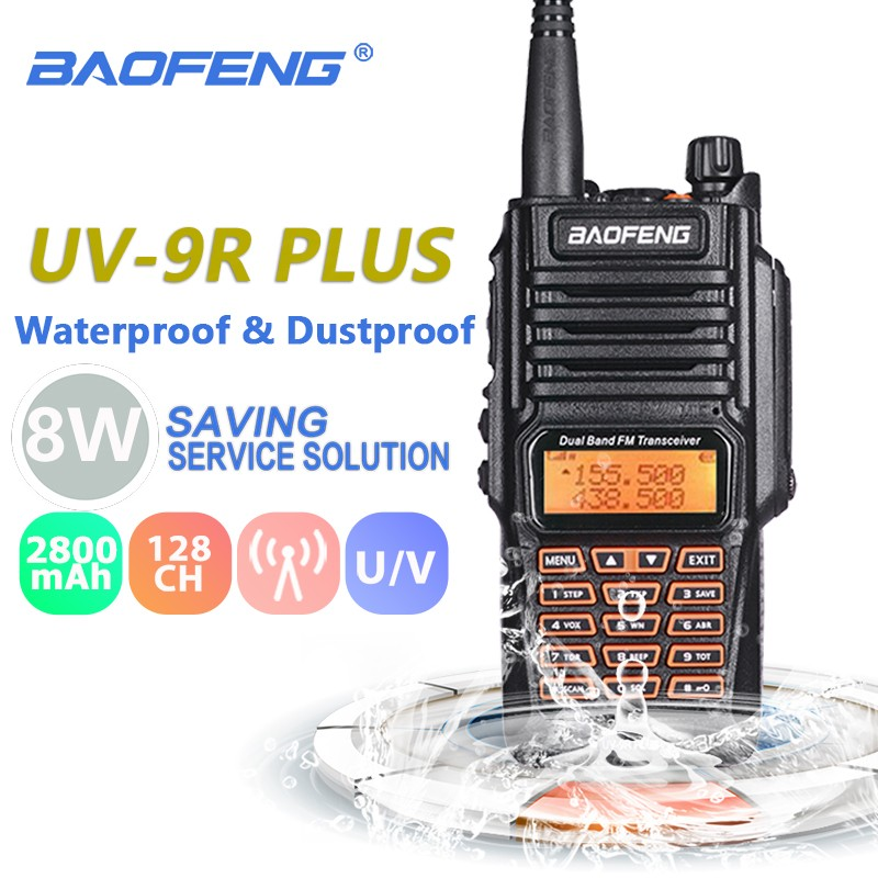 Baofeng UV-9R Plus 8W 2800mAh Walkie Talkie UHF VHF Radio Station IP67 Waterproof Baofeng UV 9R Two Way Radio UV9R Hunting RadioBaofeng UV-9R Plus 8W 2800mAh Walkie Talkie UHF VHF Radio Station IP67 Waterproof Baofeng UV 9R Two Way Radio UV9R Hunting Radio