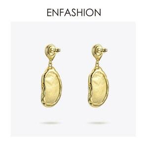 Image 4 - Enfashion Vintage Lớn Xà Cừ Bông Tai Giọt Dành Cho Nữ Màu Vàng Tự Nhiên Xà Cừ Earings Trang Sức Thời Trang Oorbellen E191024