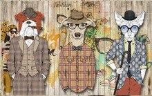 Abstract art wallpaper wood plank dog clothing bar backdrop wallpaper