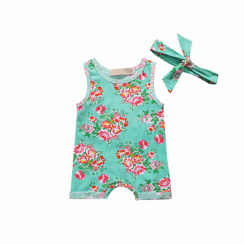Newborn Infant Baby Girl Summer Flower Romper O-Neck Sleeveless Rompers Cotton Girl Jumpsuit Green Kids Baby Girl Outfit Sunsuit newborn infant baby girl clothes strap lace floral romper jumpsuit outfit summer cotton backless one pieces outfit baby onesie