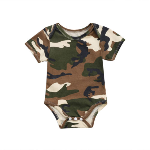 Newborn Baby Boys Girl Camo Short Sleeve Romper Camouflage Jumpsuit Clothes Summer