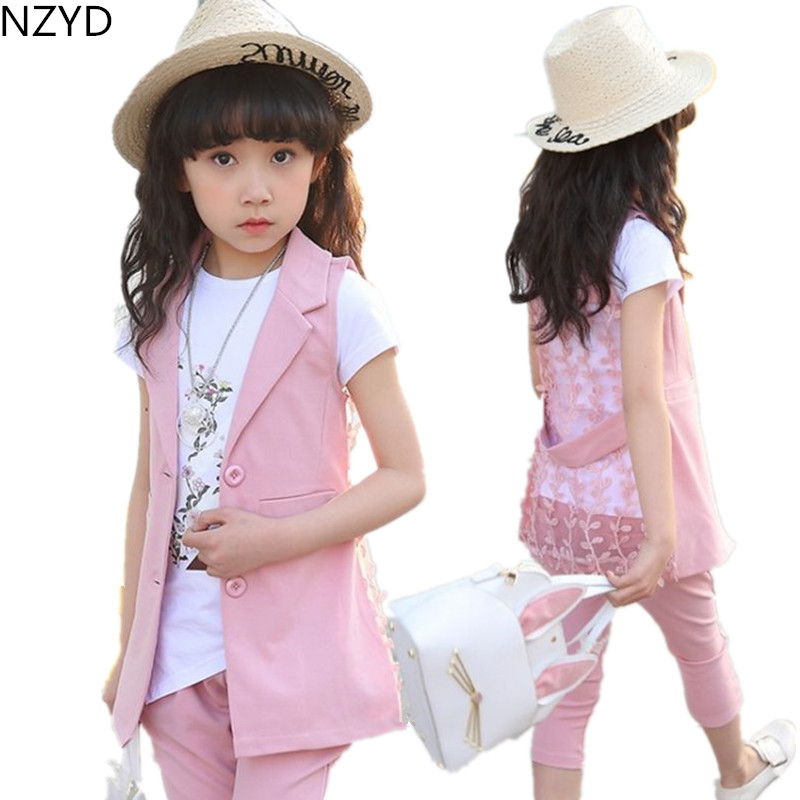 New Summer Girl Children's Clothing Suit Pure Cotton T-Shirt + Vest + Trousers Casual Fashion Kids Clothes 2PSC Set DC481