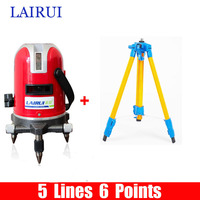 LAIRUI Brand 5 Lines 6 Points Laser Level 635nm 360 Degree Rotary Cross Laser Line Level