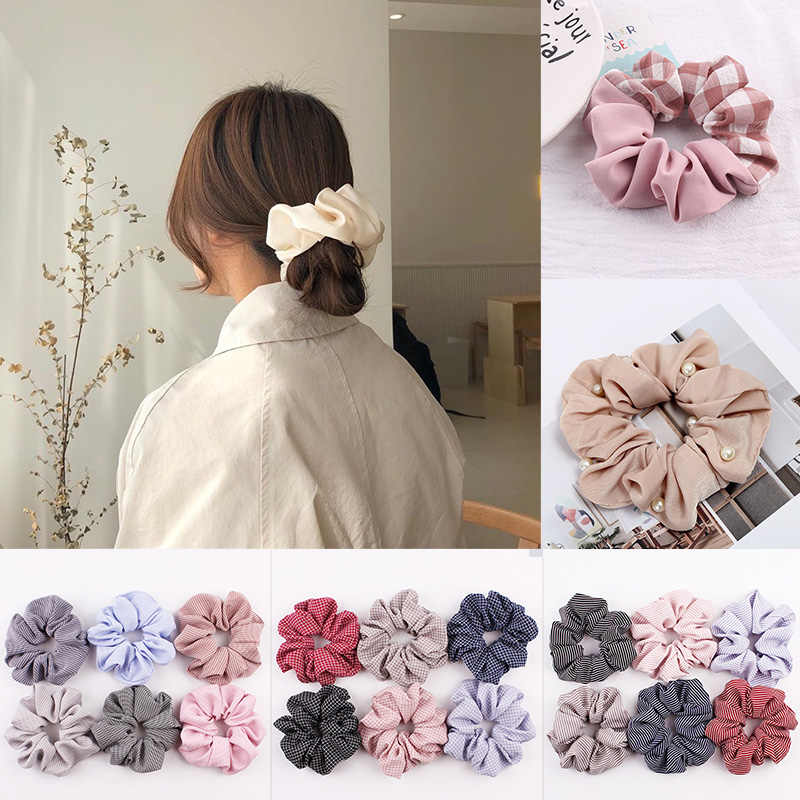 2019 New Arrival Fashion Women Satin Pearl Hair Bands Bright Color Hair Scrunchies Girl Hair Tie Accessories Ponytail Holder