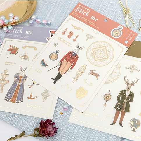 Cute Rabbit Deer Fox Cat Diary Label Stickers Decorative Mobile Stickers Scrapbooking DIY Stickers Seal Sticker