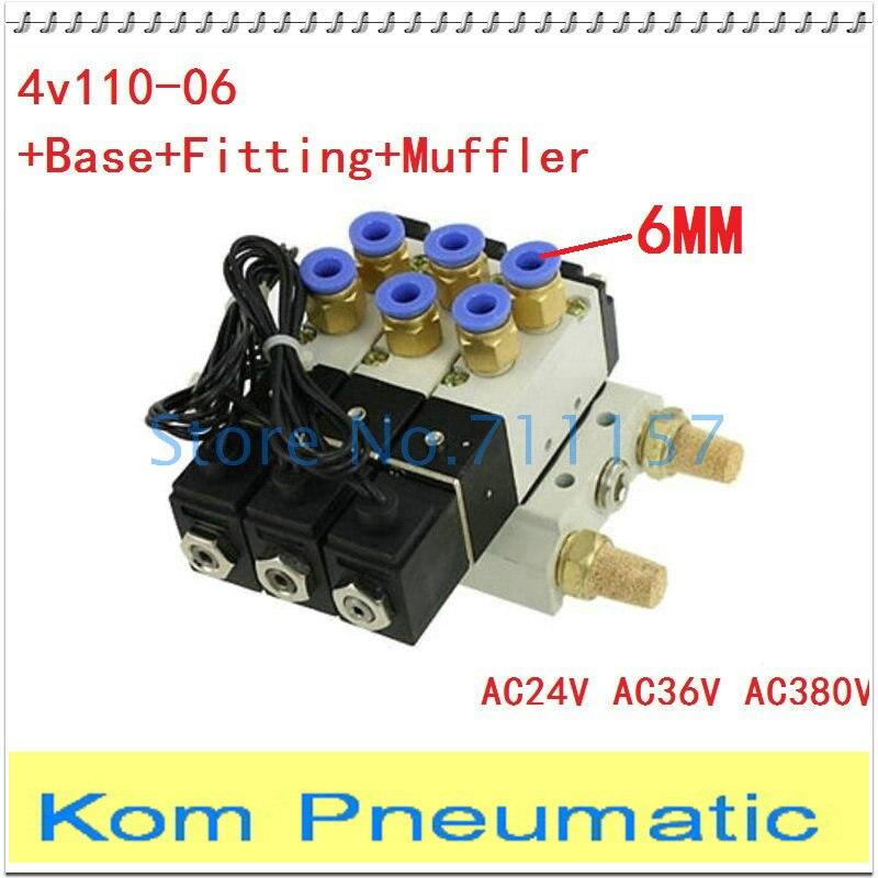 4V110 06 2 Position 5 Way 3 Solenoid Valve Connected w Base Muffler Set 1 8