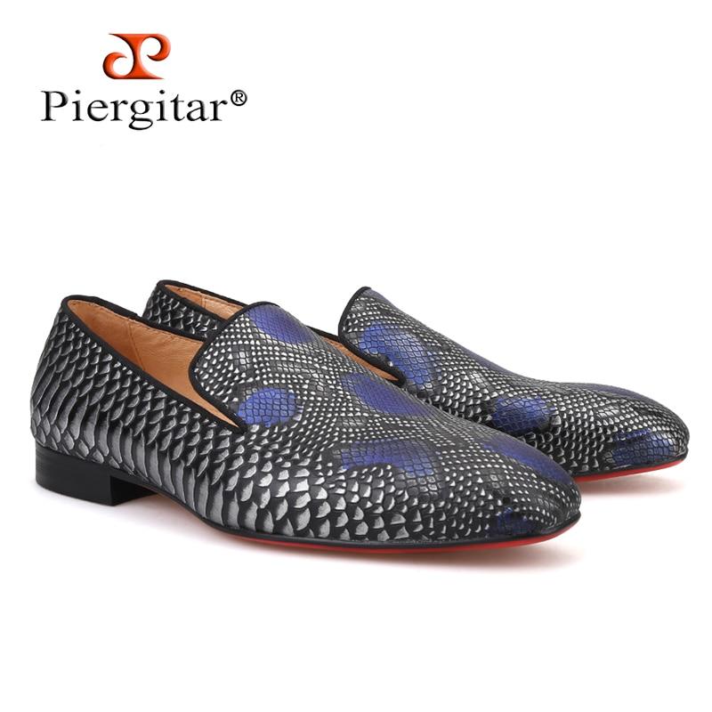 2019 new arrival Handmade mężczyźni oryginalne skórzane buty z serpentyn drukowania wzorów imprezę i wesele męskie mokasyny męskie mieszkania w Męskie nieformalne buty od Buty na  Grupa 1