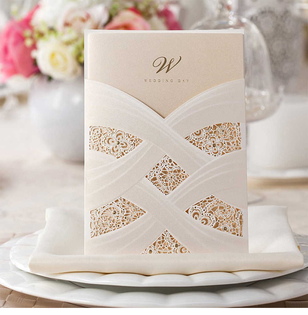 WISHMADE Vertical Laser Cut Wedding Invitations Ivory Lace Hollow Flora Elegant Invites Cards For Marriage Party Supplies