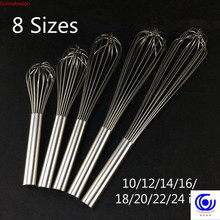 Bigger size Stainless Steel Strengthening Egg Beater Whisk length 10/12/14/16/18/20/22/24 inch Hand Kitchen Tool Baking 16 wires