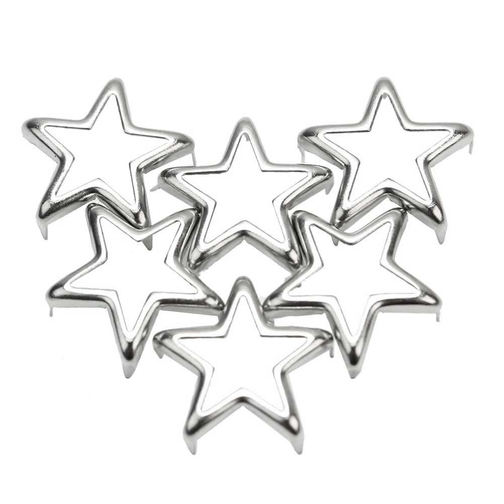 Leathercraft-Accessories Shoes Rivets-Spots-Spikes Decor Metal Studs Star-Shape Silver title=