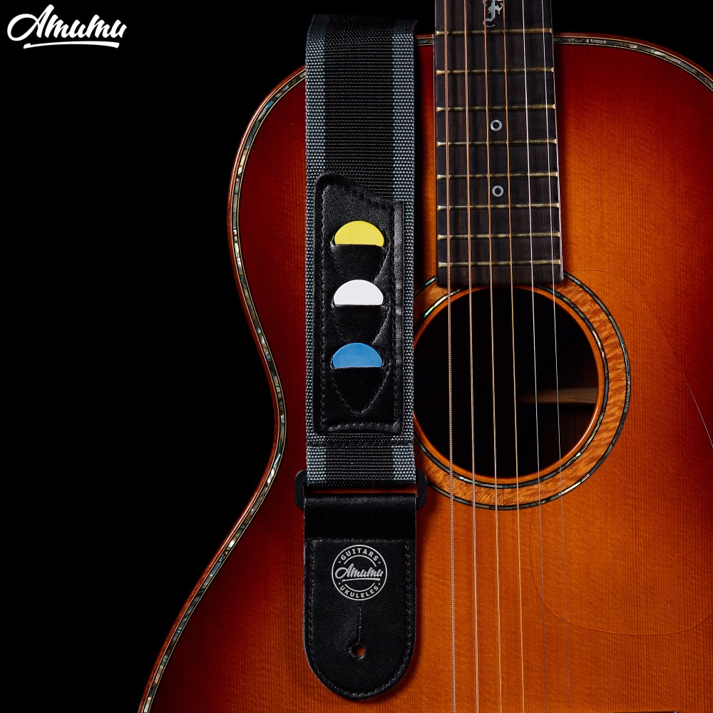 Amumu Nylon Guitar strap Leather End for Classical Acoustic Guitar 3 Guitar Pick Plectrum Holder AM-S10 100pcs acoustic electric guitar picks parts acoustic celluloid plectrum multi 0 46 0 71mm classical guitar pick