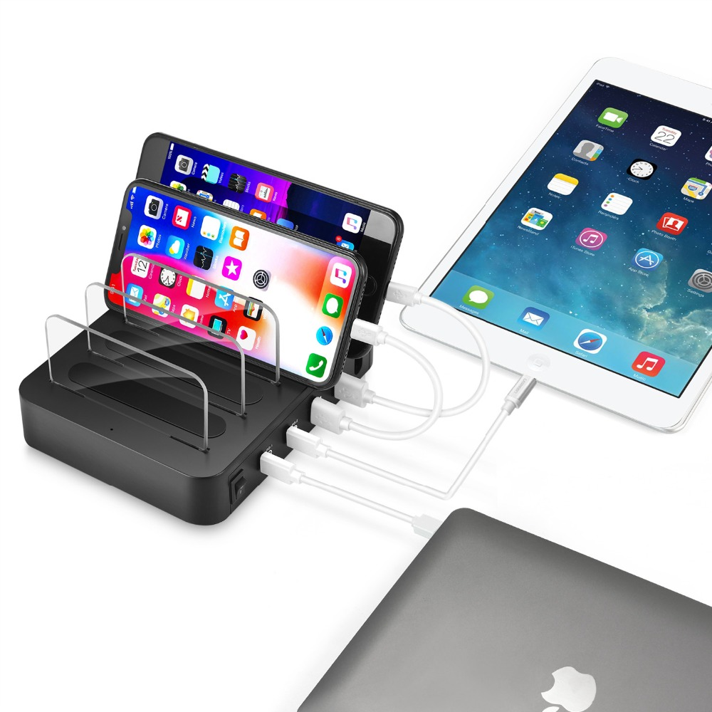 Image 5 - 4 Port USB 3.1 Type C Charger 40W Dual PD Charging Station Dock Desktop Charger For iphone Samsung Huawei Docking Station-in Mobile Phone Chargers from Cellphones & Telecommunications