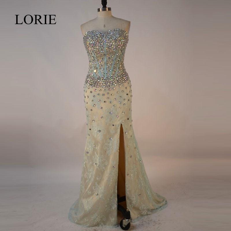 Vintage Lace Mermaid Prom Dresses 2017 Abendkleider Rhinestones Long Evening Gowns Sweetheart Side Split Formal Party Dresses