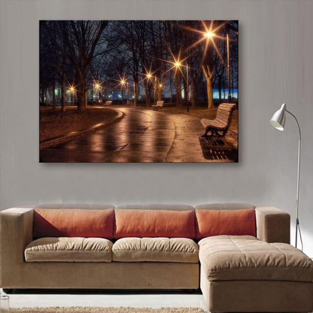 Stretched Canvas Prints Street Lights LED Flashing Optical Fiber Print LED  Wall Art LED Decorations