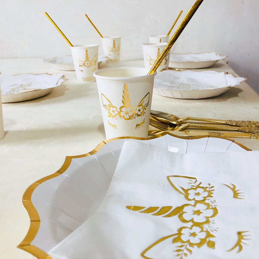 Unicorn Party Decoration Hot Gold Unicorn Disposable Tableware Set 1st First Birthday Party Baby Shower Supplies in Disposable Party Tableware from Home Garden
